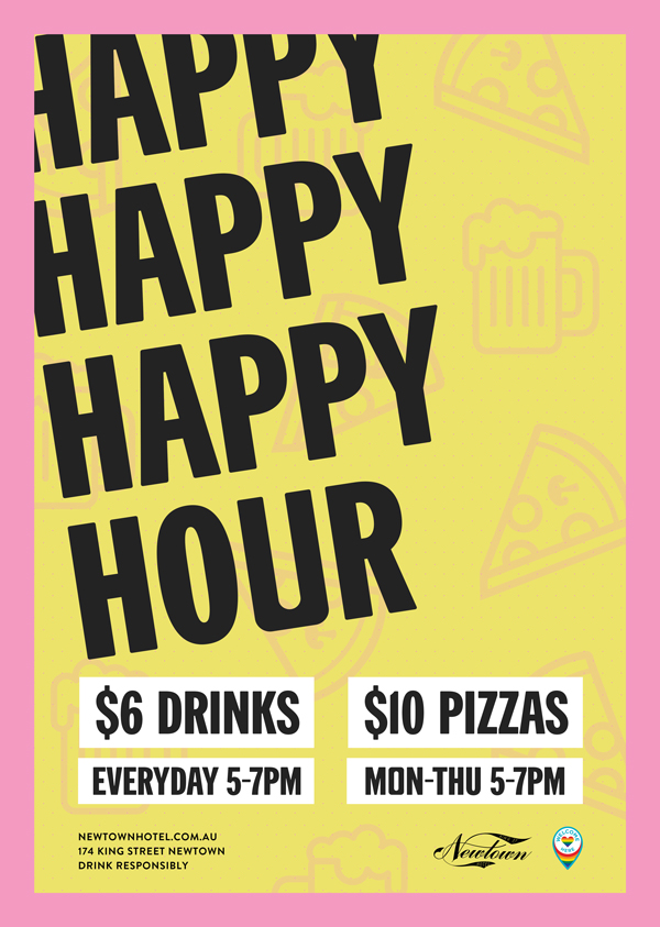 Happy Hour at Newtown Hotel - enjoy $5 drinks and $10 pizzas