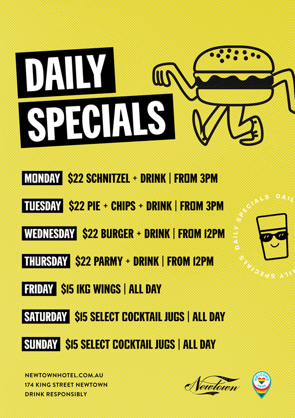 Daily food and drink specials at Newtown Hotel