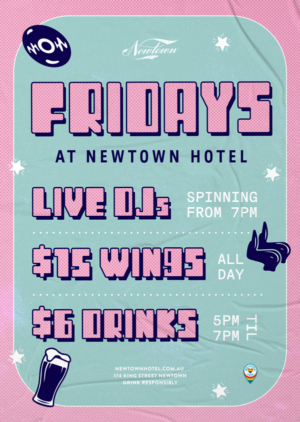 Every Friday at Newtown Hotel enjoy live DJs, $15 wings and $6 drinks